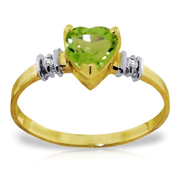 14K YELLOW GOLD .95ct PERIDOT & .03ct DIAMONDS RING