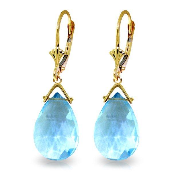10.20ct Blue Topaz Teardrop Earrings in 14k YG