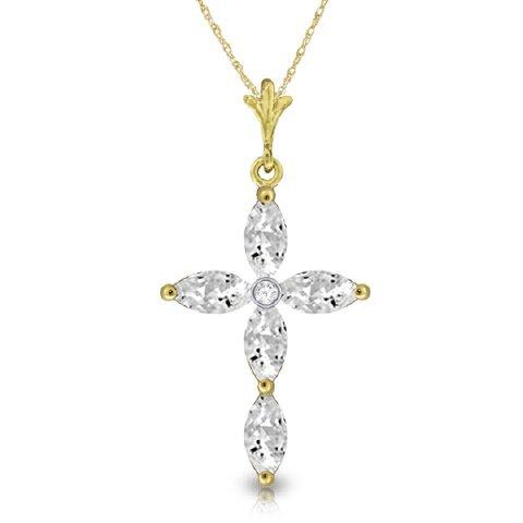 14k Solid Gold 1.08ct White Topaz & Diamond Necklace