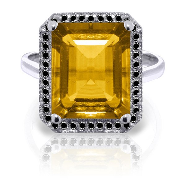 14K White Gold 5.60ct Citrine & Black Diamond Ring