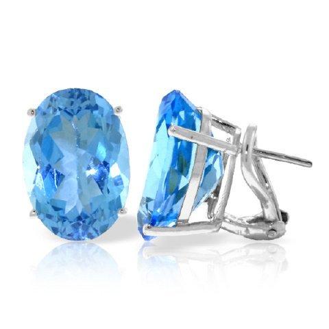 16.00ct Blue Topaz French Clip Earrings in 14k WG