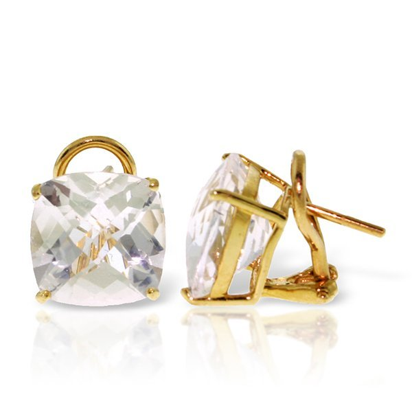 14k Solid Gold 7.20ct White Topaz French Clip Earrings