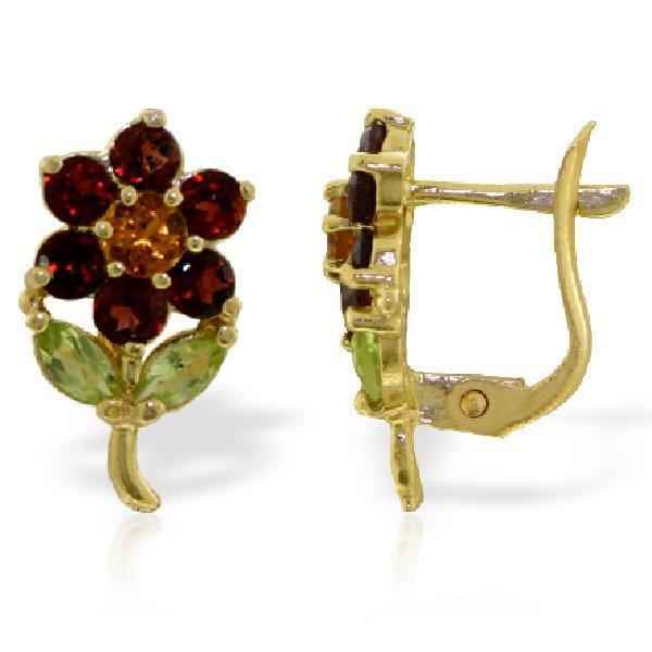 14k Solid Gold Citrine, Peridot & Garnet Earrings