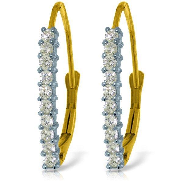 14k Solid Gold 0.30ct Diamond Leverback Earrings