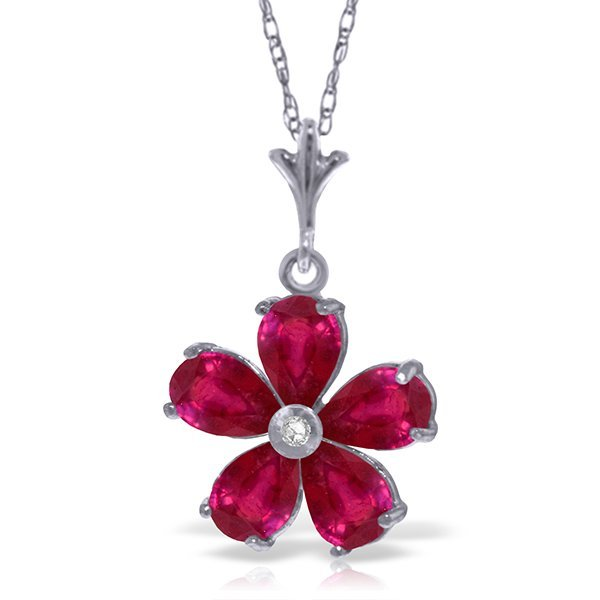 14k Solid Gold 2.20ct Ruby & Diamond Necklace