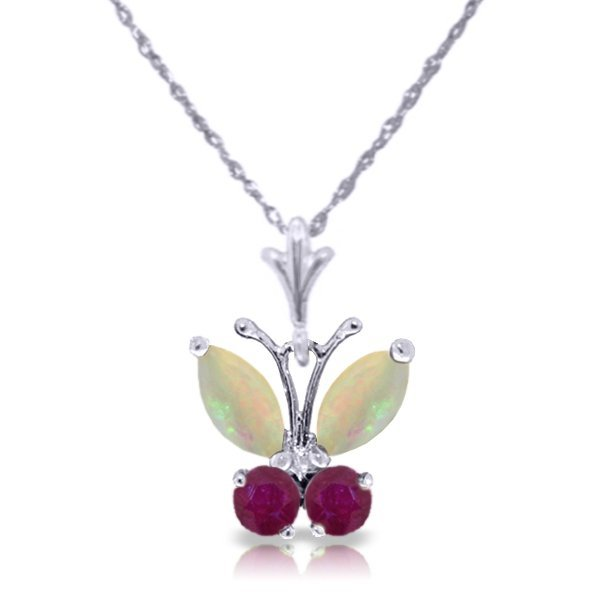 14k WG .50ct Opal and .20ct Ruby Butterfly Necklace
