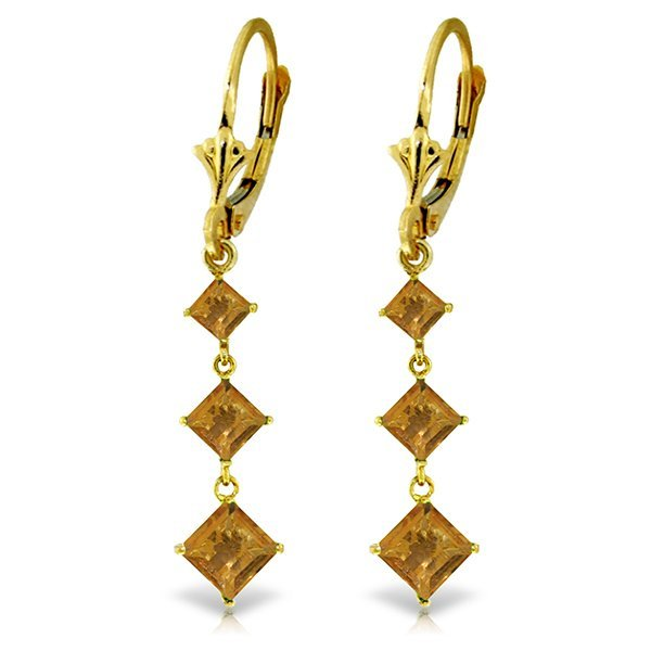 14K Y.GOLD 2.29ct CITRINES LEVERBACK EARRING