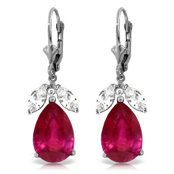 14k WG 10.0ct Ruby & 1.0ct White Topaz Earrings
