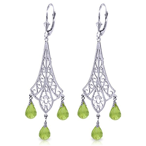 14k WG 4.50ct Peridot Chandelier Earrings