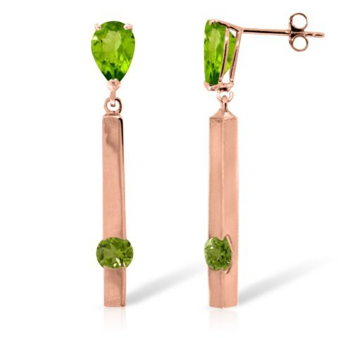 14k RG 3.50ct & 0.75ct Peridot Long Chandelier Earrings