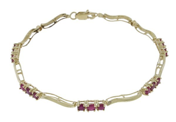 14k YG .95ct & .80ct Rubies and .01ct Diamond Bracelet