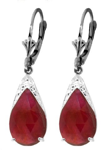 14k Gold 10.0ct Ruby Teardrop Earrings