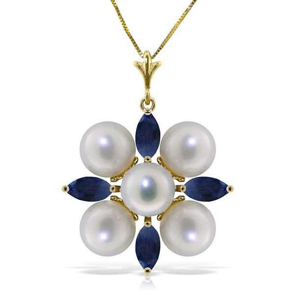 14K YELLOW GOLD 1.30ct SAPPHIRE & PEARLS NECKLACE