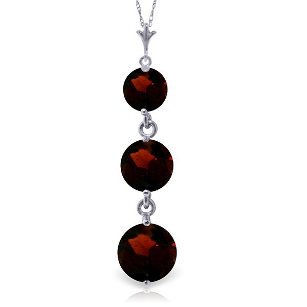 14k White Gold Graduated Garnet Necklace
