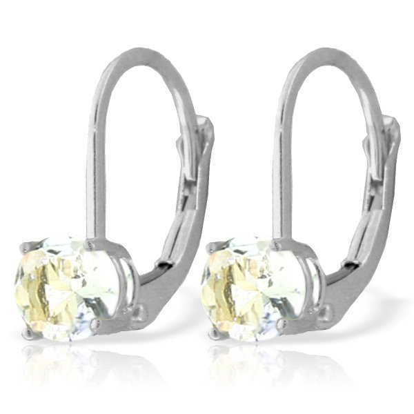 14k WG 1.20ct Aquamarine Leverback Earrings