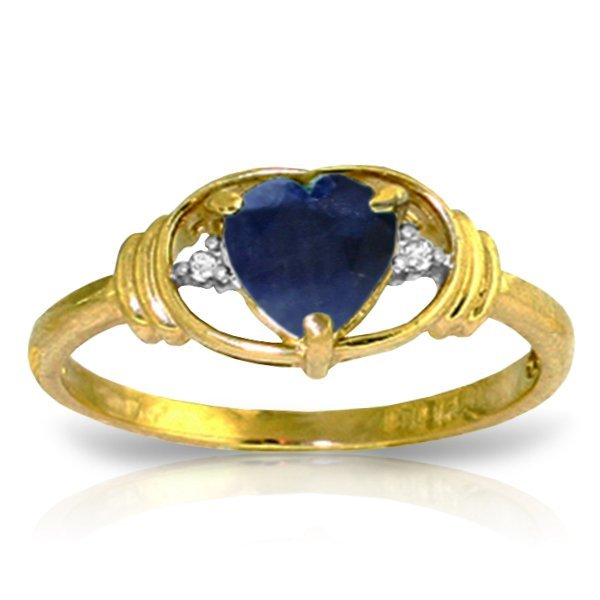 14K YG 0.01ct DIAMOND & 1.00ct HEART SAPPHIRE RING