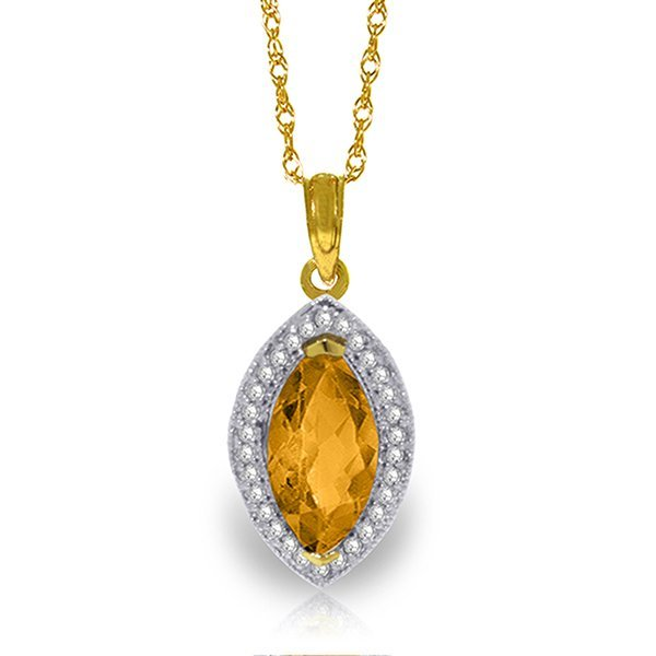 14k Solid Gold 1.65ct Citrine & Diamond Necklace