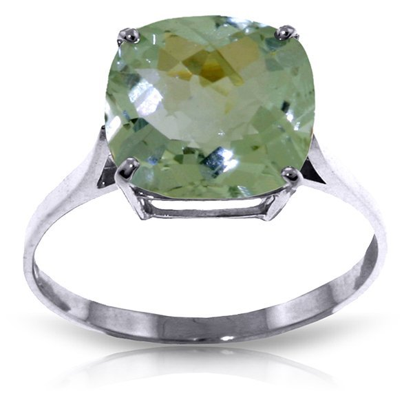 14k Solid Gold 3.60ct Green Amethyst Ring