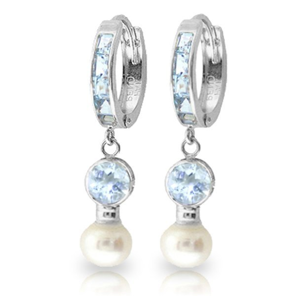 14K White Gold 2.0ct Pearl 1.3ct&1.0ct Aquamarine
