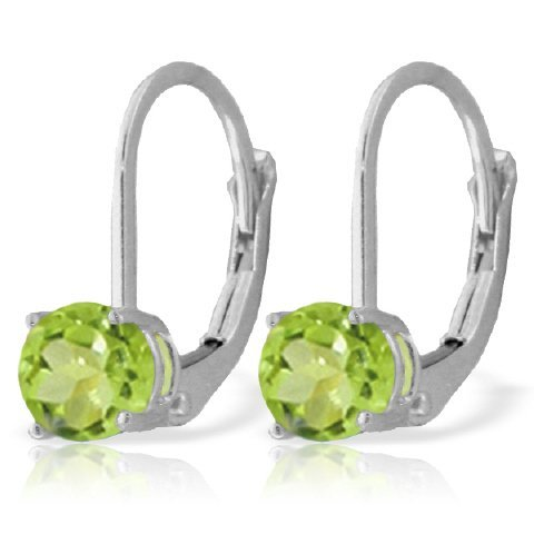 14k WHITE GOLD 1.20ct Peridot Leverback Earrings