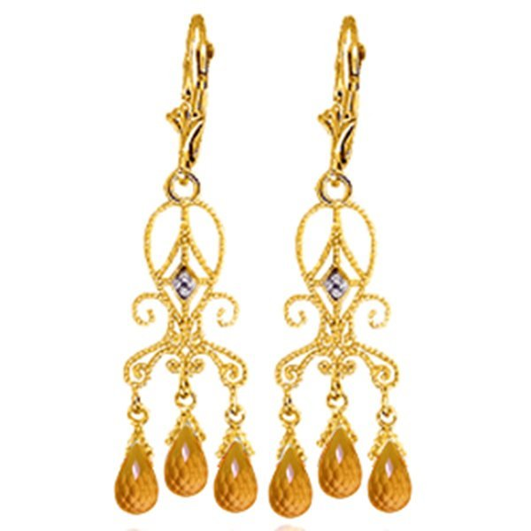 14k YG 4.20ct Citrine & Diamond Chandelier Earrings
