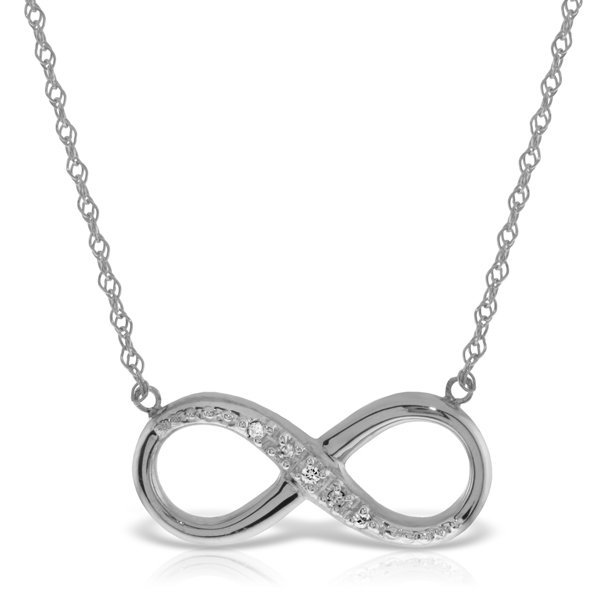 14K White Gold .03ct G-H,SI-1 Diamond Infinity Necklace