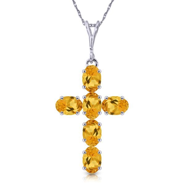 14K White Gold 1.50ct Oval Citrine Cross Necklace