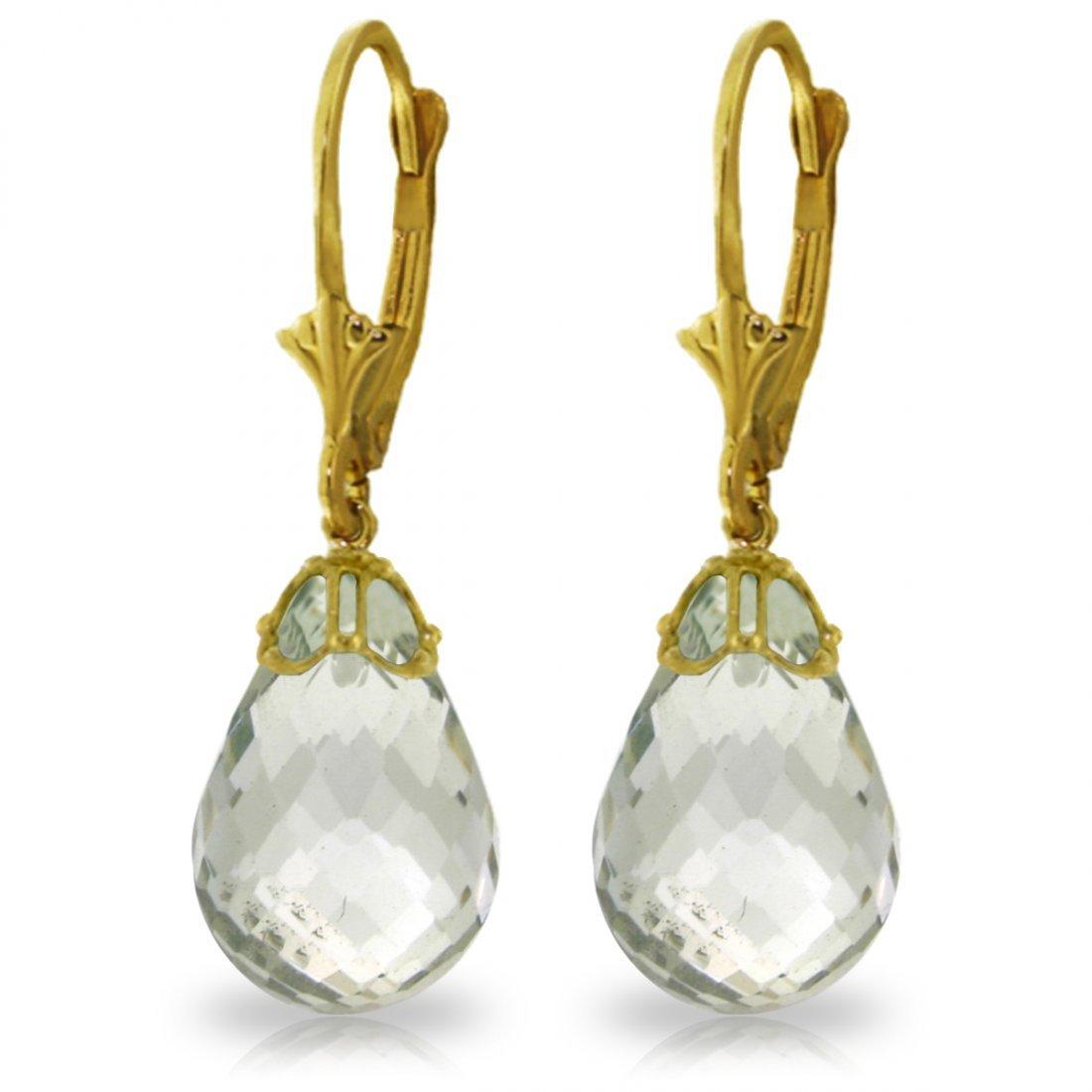 14k Yellow Gold 14.0ct Green Amethyst Earrings
