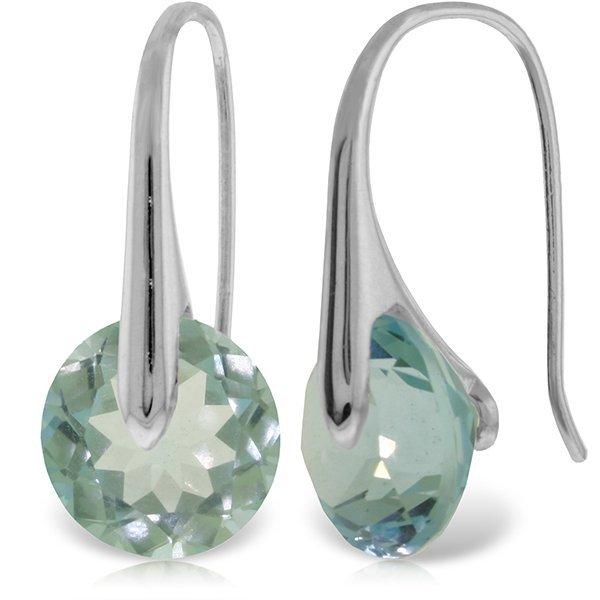 14k WG 16.50ct Blue Topaz Fish Hook Earrings