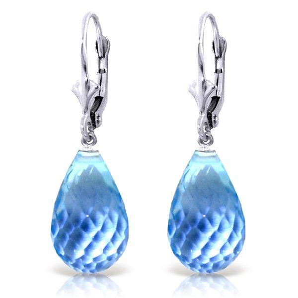 14k WHITE GOLD 28.0ct Briolette Blue Topaz Earrings