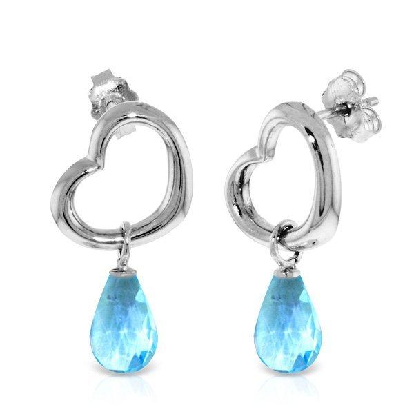14K White Gold 4.50ct Blue Topaz Dangle Heart Earring