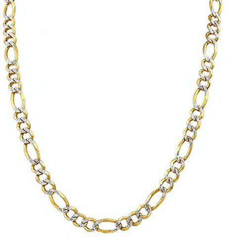 """24"""" 14k Solid Gold Pave Figaro Chain 3.10mm wide"""