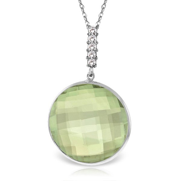 14K White Gold 18.0ct Green Amethyst & Diamond Necklace