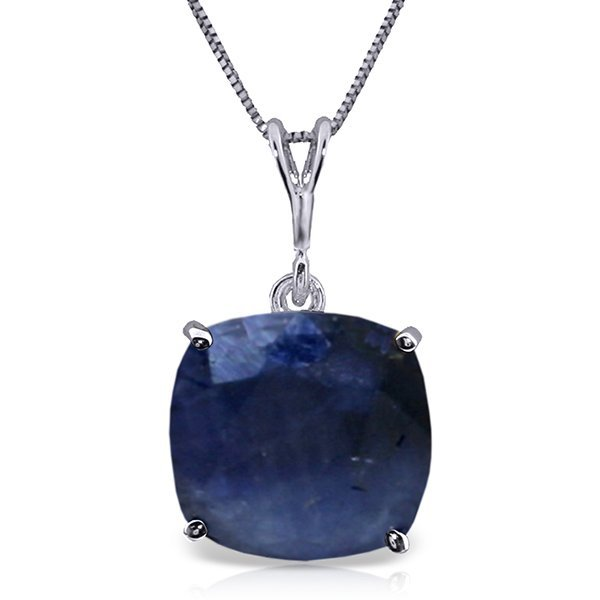 14K White Gold 4.83ct Cushion Sapphire Necklace