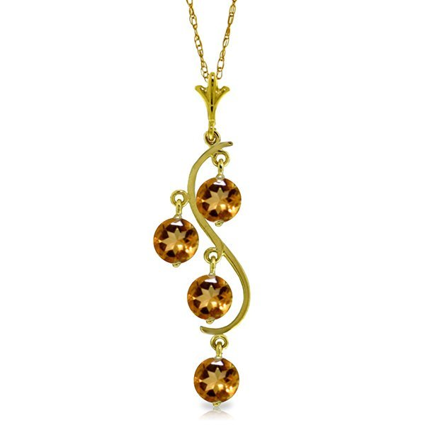 14K Y. GOLD 2.25ct ROUND SHAPE CITRINES NECKLACE