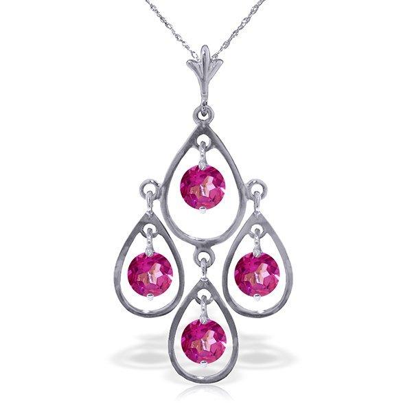 14k WG 1.20ct Pink Topaz Chandelier Necklace