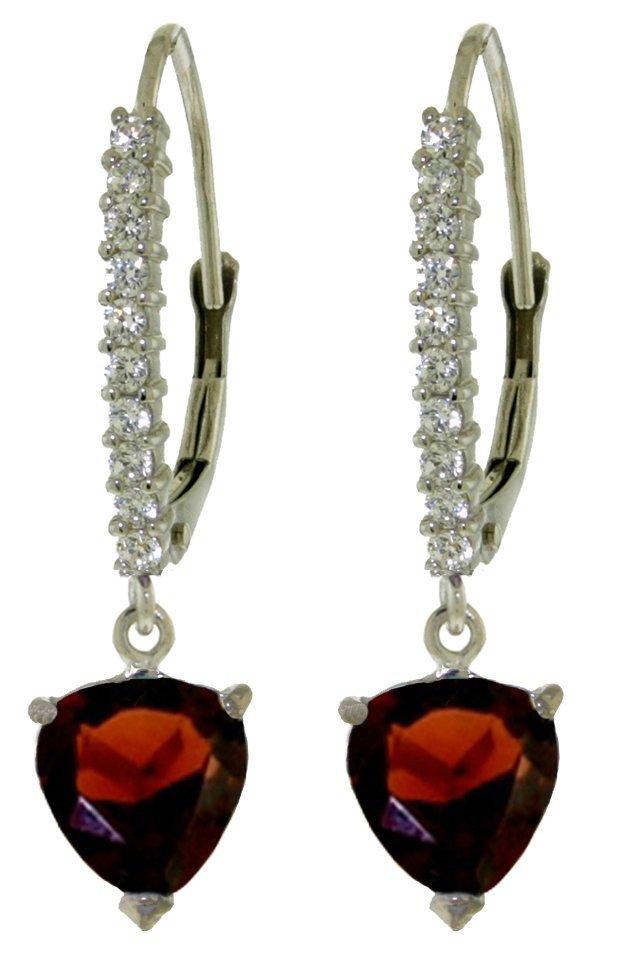 14k WG 3.25ct Heart Garnet w/ .30ct Diamond Earring