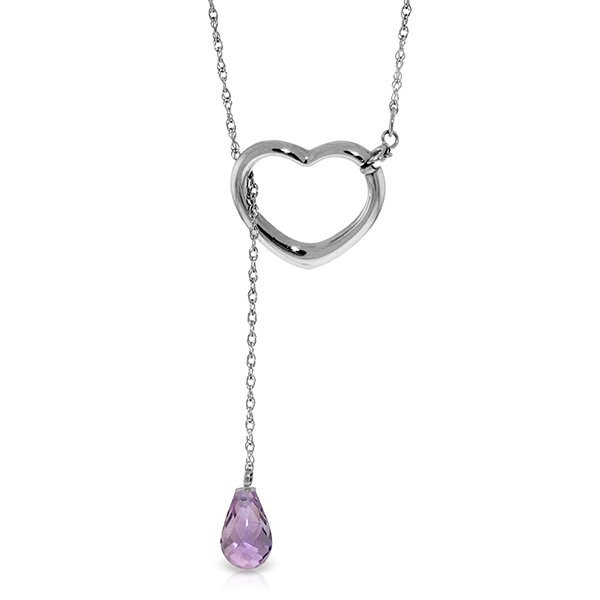 14K White Gold 2.25ct Drop Amethyst Heart Necklace