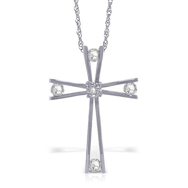 14k WG 0.45ct Diamond Vintage Cross Necklace