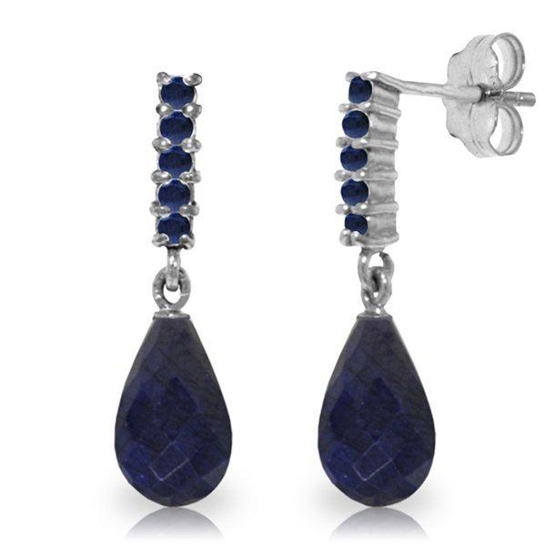 14K White Gold 6.6ct & .40ct Sapphire Dangle Earring