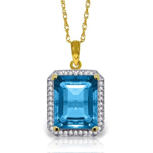 14k Solid Gold 7.60ct Blue Topaz & Diamond Necklace