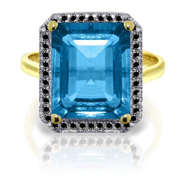 14k YG 7.60ct Blue Topaz with Black Diamonds Ring