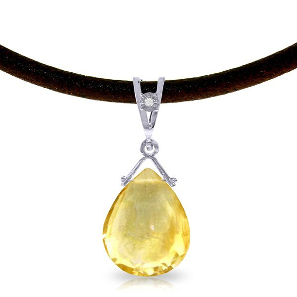 14K White Gold 6.50ct Citrine & Diamond Necklace