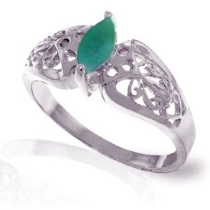 14K White Gold .20ct Emerald FILIGREE Ring
