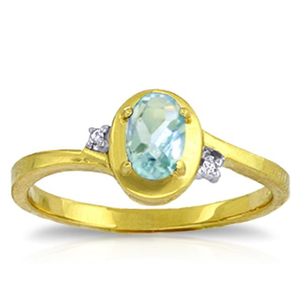14k YG 0.50ct Aquamarine & Diamond Ring