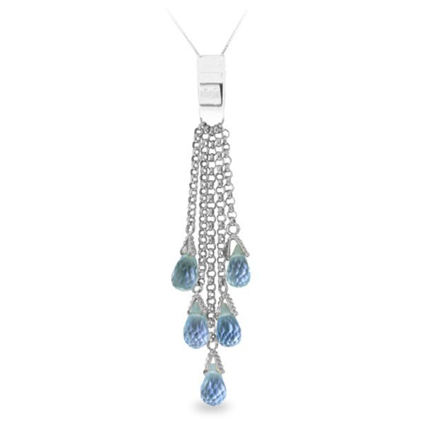14K White Gold 5.80ct Briolette Blue Topaz Necklace