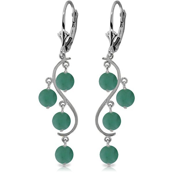 14K White Gold 4.00ct Emerald Chandelier Earring