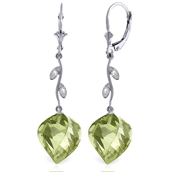 14k Elegant 26.0ct Green Amethyst & Diamond Earrings