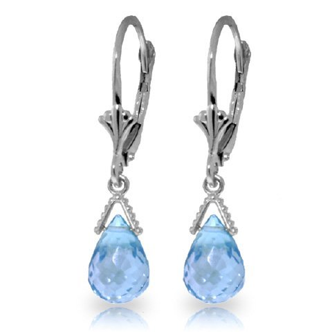 4.50ct Blue Topaz Petite Briolette Earrings in 14k WG