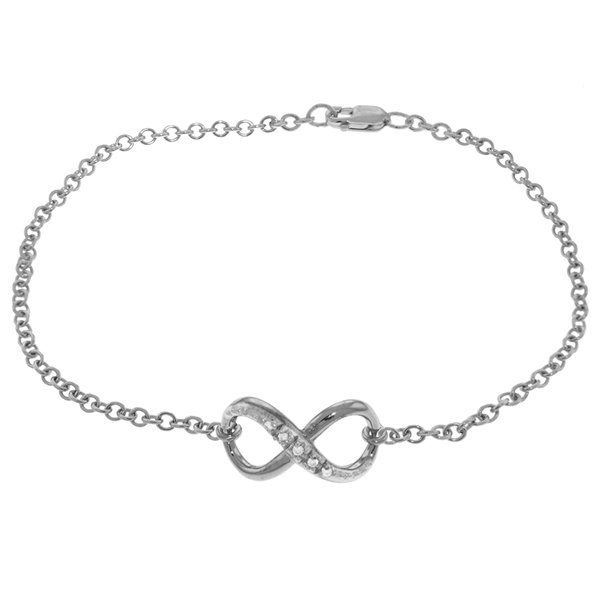 14K White Gold .03ct G-H,SI-1 Diamond Infinity Bracelet